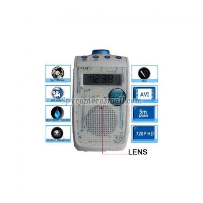 Bathroom Spy Shower Radio Camera - Splash Proof Radio HD Bathroom Spy Camera Motion Detection DVR 1280x720 16GB Remote Control ON/OFF
